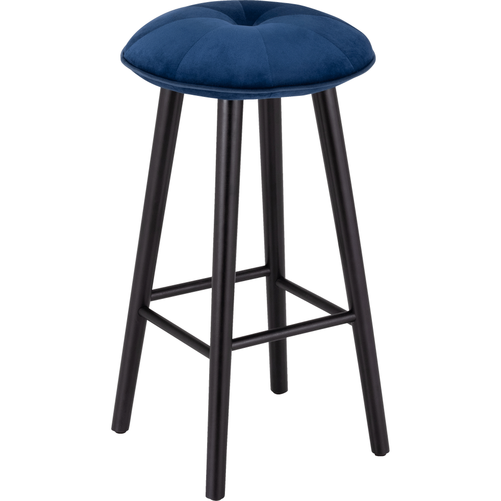 tabouret de bar en velours bleu myrte h75cm augustin. Black Bedroom Furniture Sets. Home Design Ideas