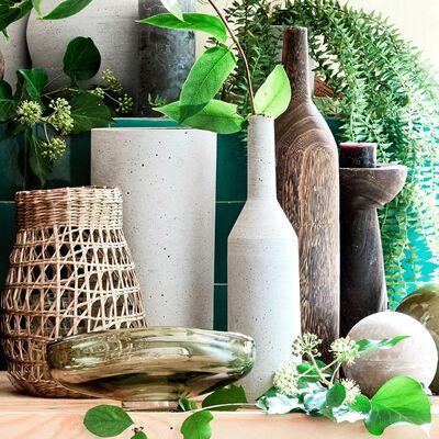 Vase bouteille en bois de paulownia - marron H40,5cm-MONICA
