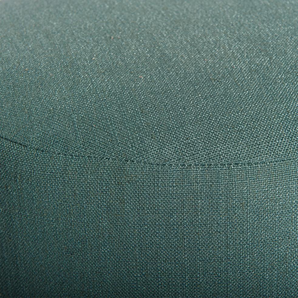 Pouf en tissu bleu canard-PLUME