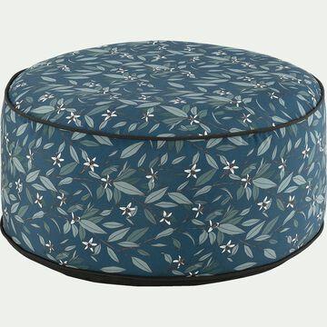 Pouf de jardin en tissu motif floral - bleu D53cm-Caprice