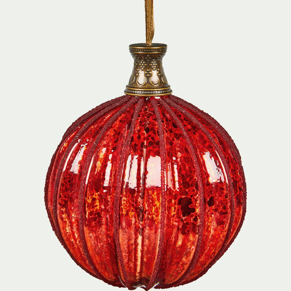 Boule de Noël en verre rouge D6,5cm-RAFFAELA