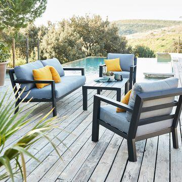 Salon de jardin en aluminium avec coussins - gris (4 places)-CALMOS