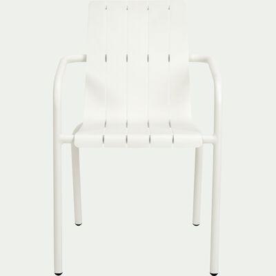 Chaise de jardin en aluminium empilable avec accoudoirs blanc-CENOZA