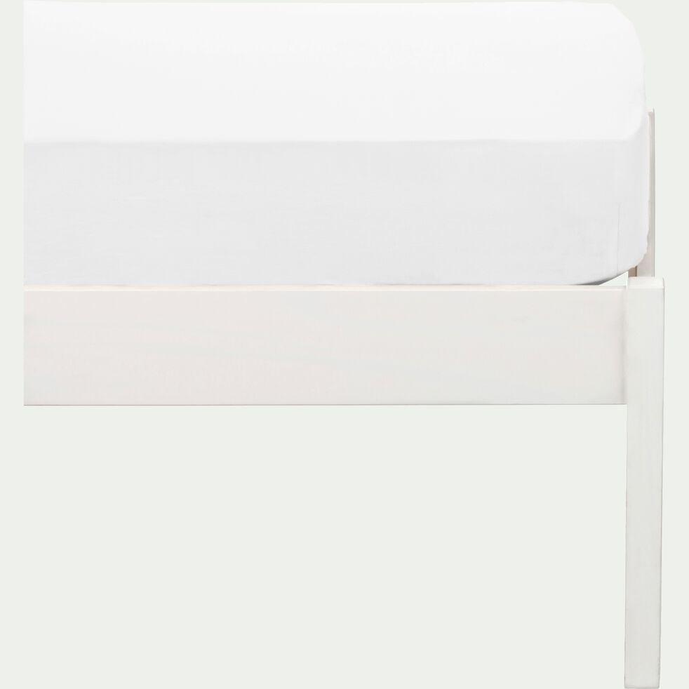 Drap housse enfant en coton 90x140+B15cm - blanc-Calanques
