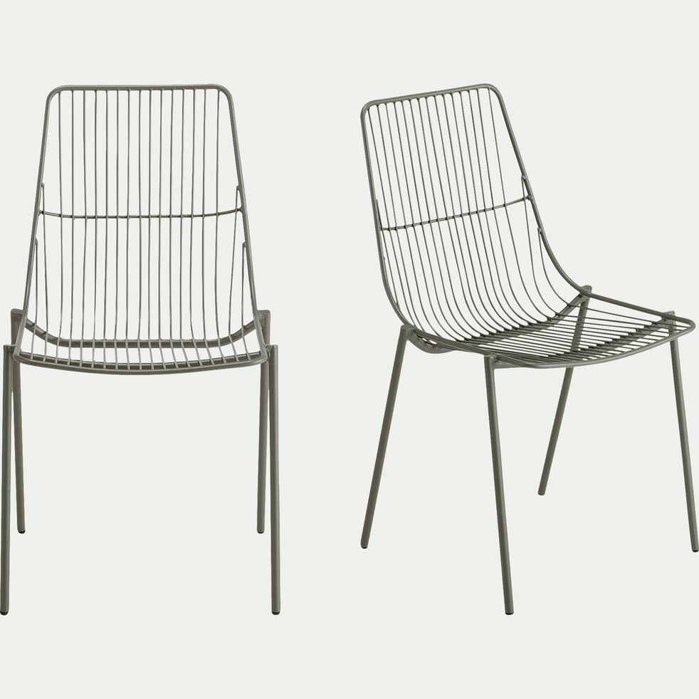 Chaise de repas intérieur et extérieur en acier - vert cèdre-MALDI