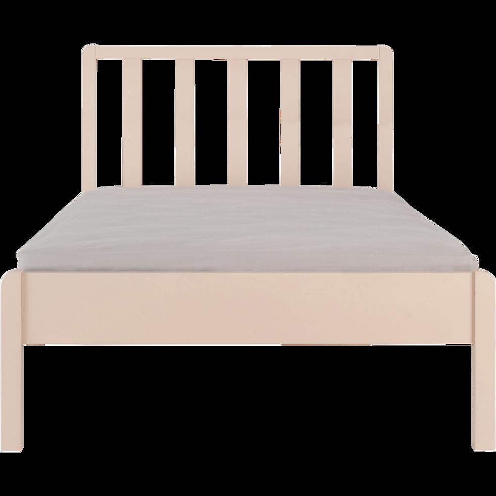 Lit 1 place en bois avec tête de lit à barreaux Sable rosé - 90x200 cm-JAUME