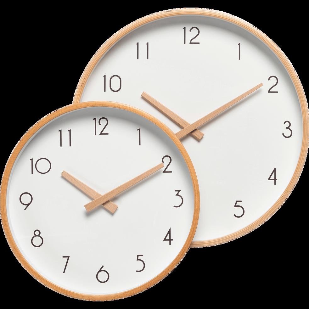 Horloge en bois blanche D32cm-Abelia
