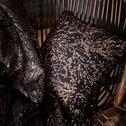 Coussin bleu calabrun à motifs or 40x40cm-GINKO