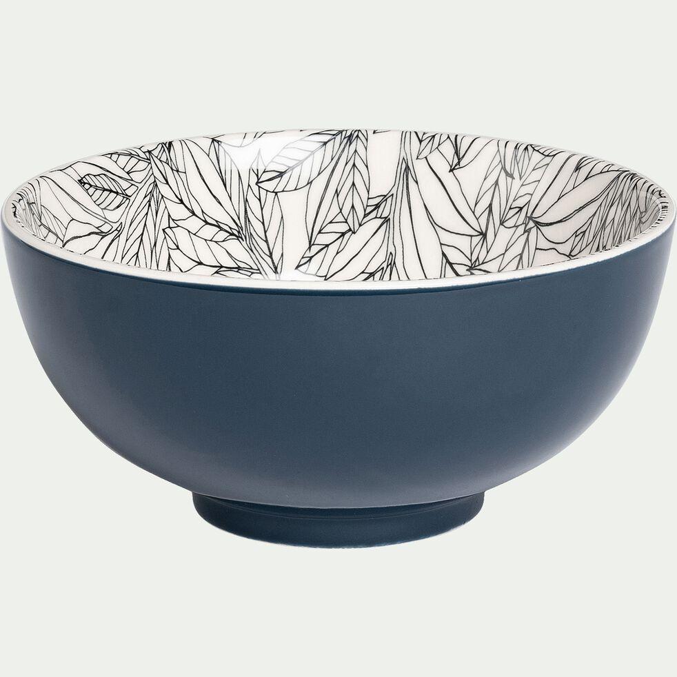 Bol en porcelaine motifs laurier - bleu figuerolles D15cm-AIX