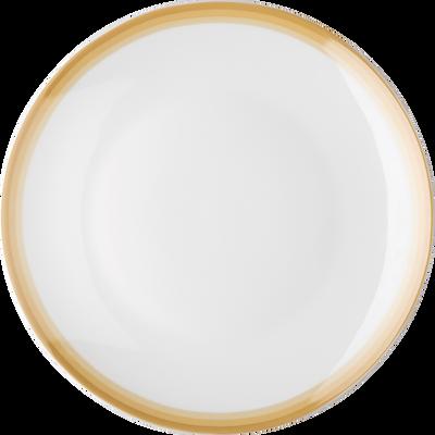 Assiette plate en porcelaine motif dégradé beige nèfle D26,5cm-VIC