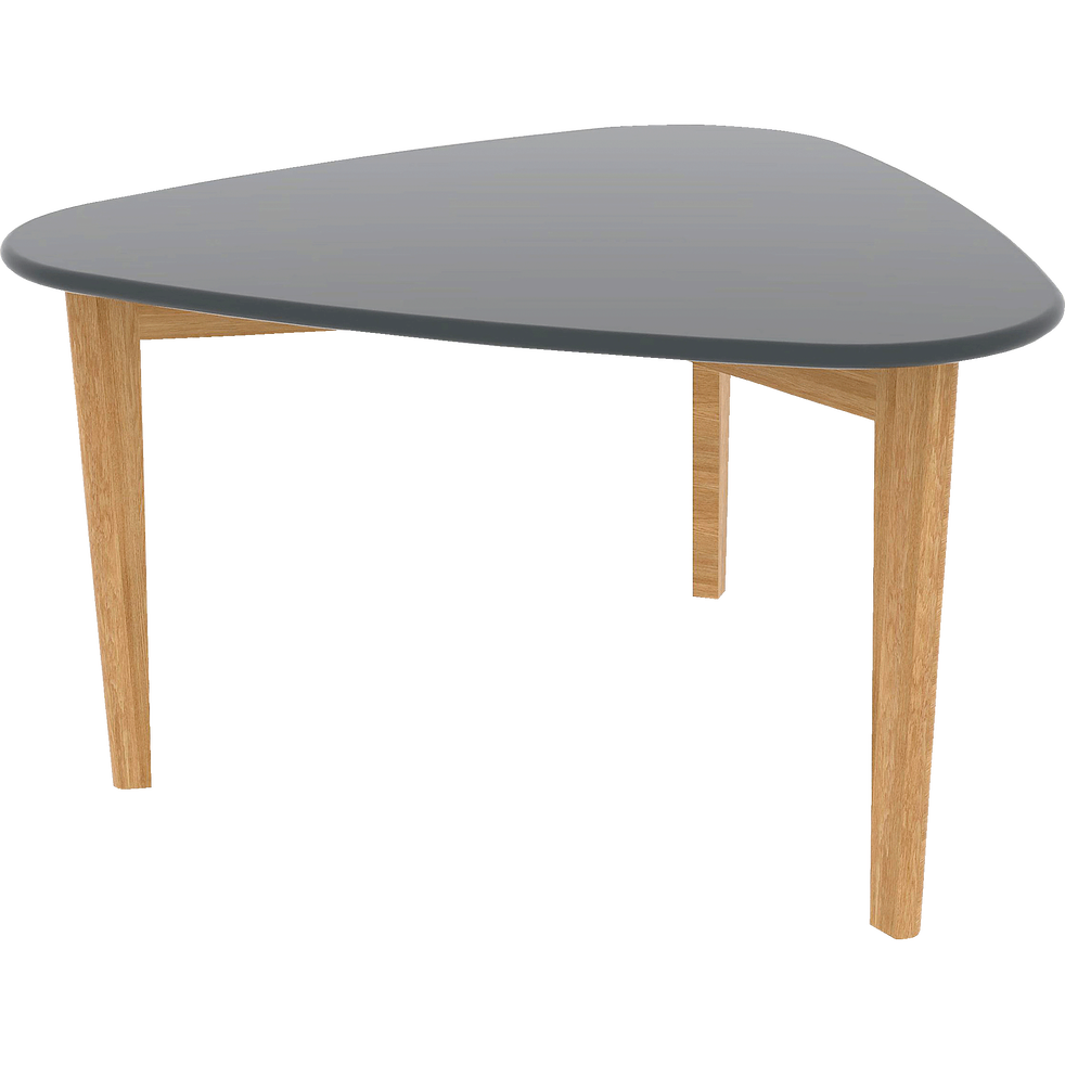 Table basse triangulaire grise avec pieds en chêne-SIWA