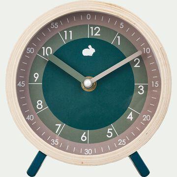 Horloge d15cm avec double cadran - vert-Ouro