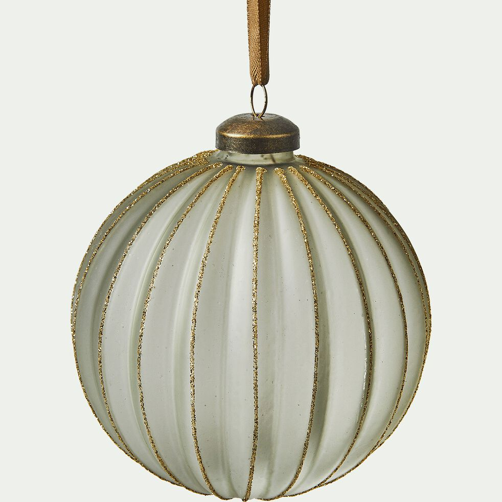 Boule de Noël en verre verte et dorée D10cm-SABRAN