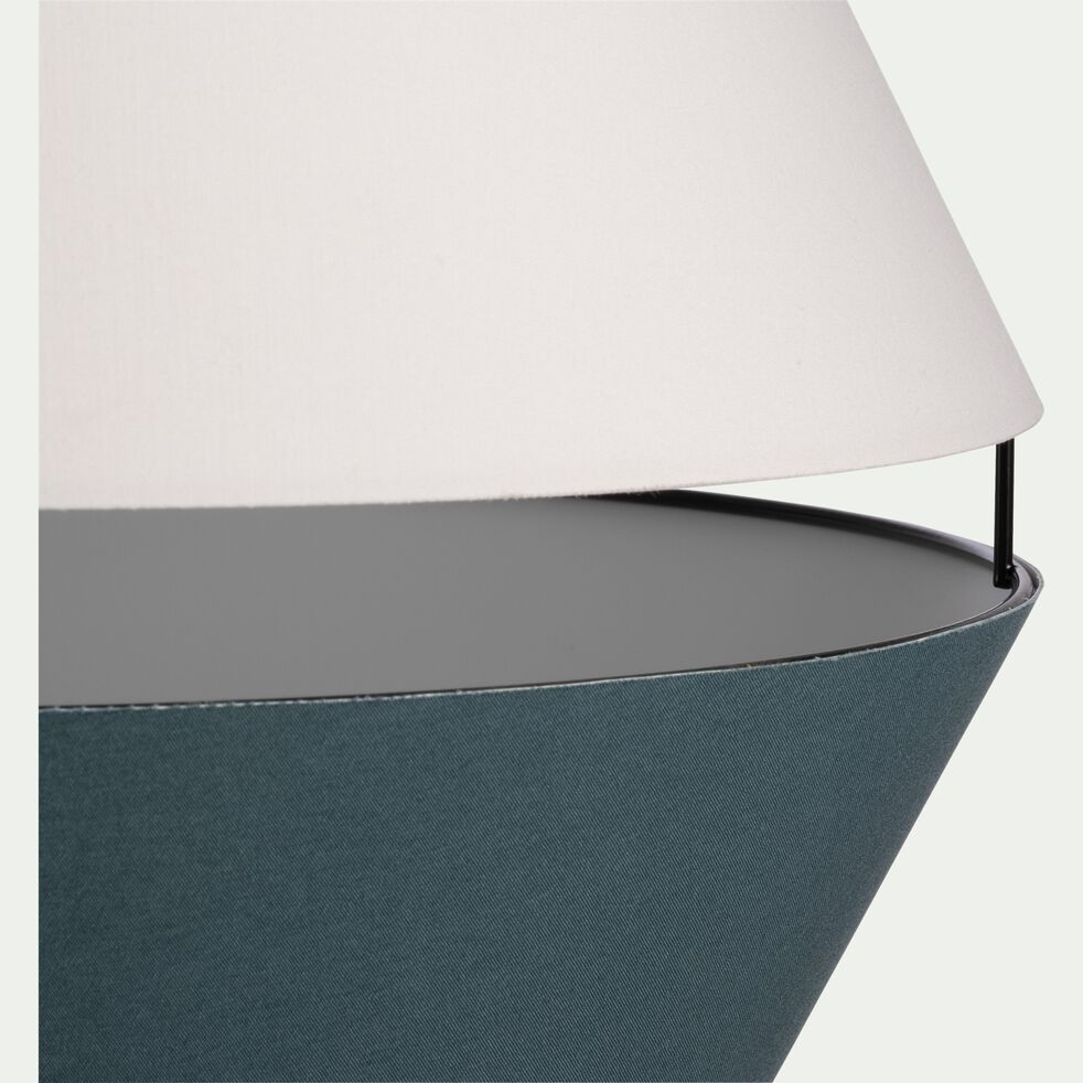 Abat-jour suspension en tissu bleu et blanc D40cm-CARA