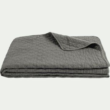 Couvre-lit en polyester effet lavé - vert cèdre 180x230cm-THYM