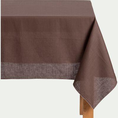Nappe en lin et coton brun ombre 170x170cm-MILA