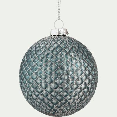 Boule de Noël en verre bleu D8cm-LUAN