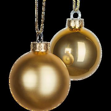 Lot de boules en verre dorées 10 pièces D6cm-bingan