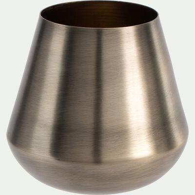 Vase cylindrique en fer - doré D10xH9cm-PETALIDI