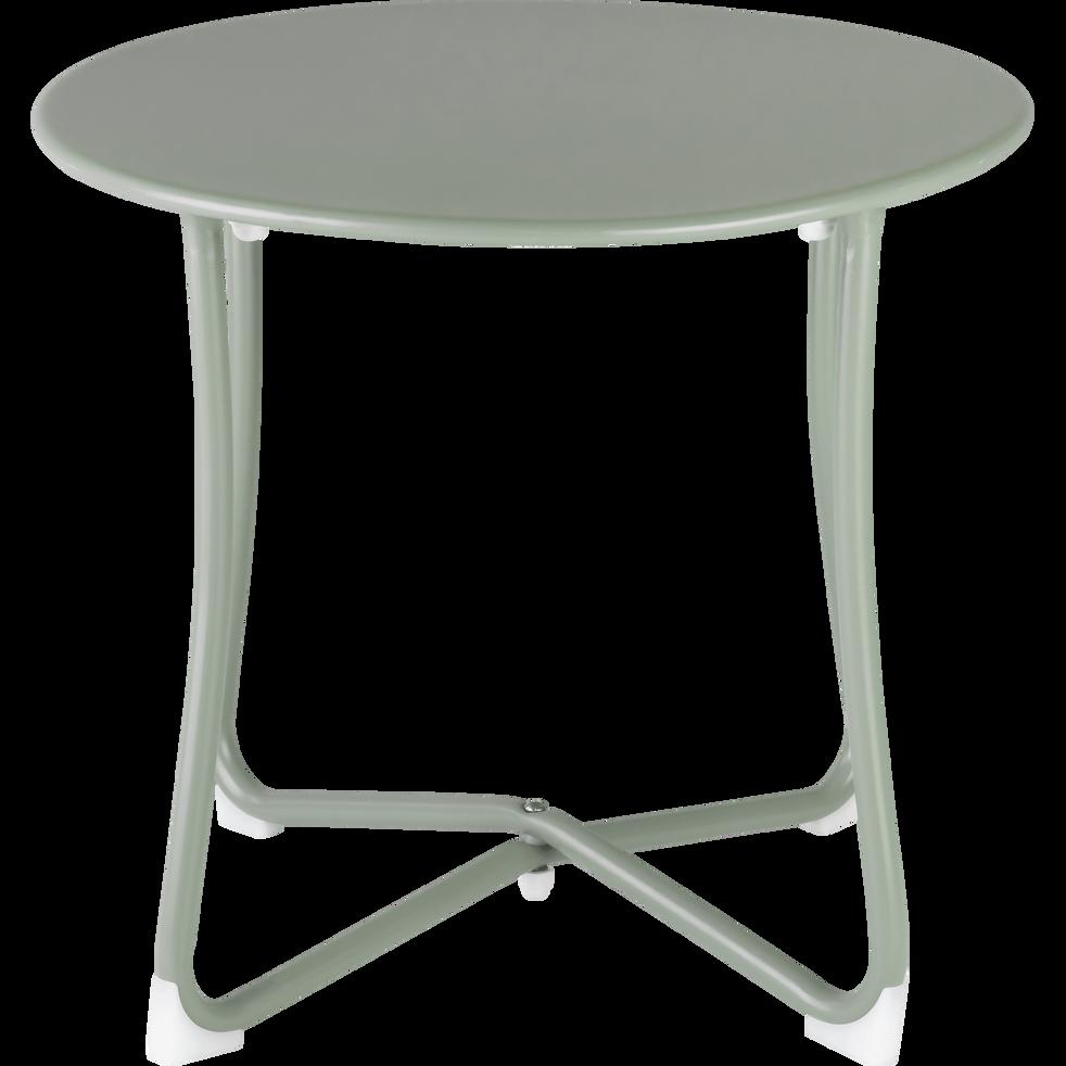 ARGELES - Table basse de jardin en acier vert olivier D45xH40cm
