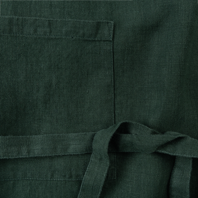 Tablier en lin vert-VERO