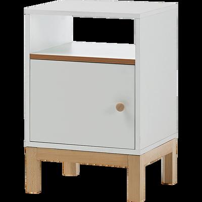 Table de chevet structure en hêtre massif blanche 1 porte 1 niche-IZY