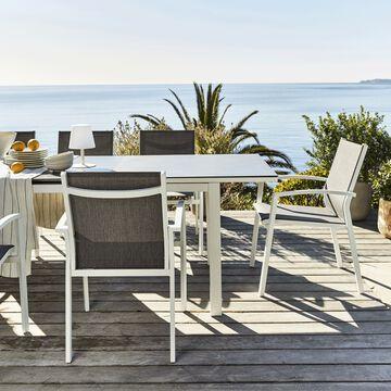 Ensemble table (6 à 10 places) et chaise de jardin en aluminium et verre-LANCIANO