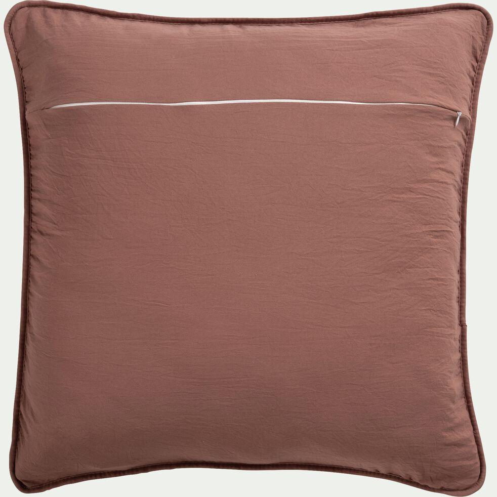Housse de coussin effet capitonné en polyester - brun rhassoul 65x65cm-BADOUR