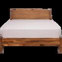 Lit 2 places avec tête de lit en acacia massif - 160x200 cm-THAO