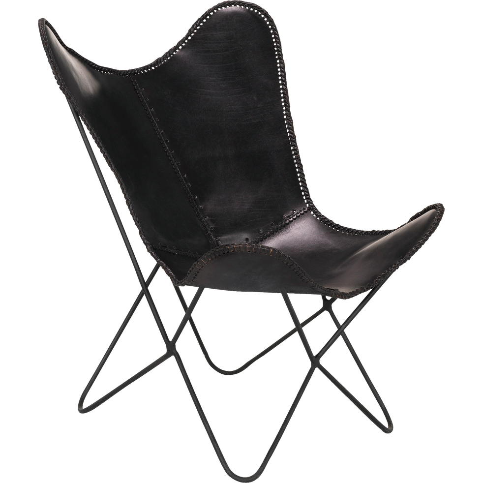 housse de fauteuil butterfly en cuir noir butterfly. Black Bedroom Furniture Sets. Home Design Ideas