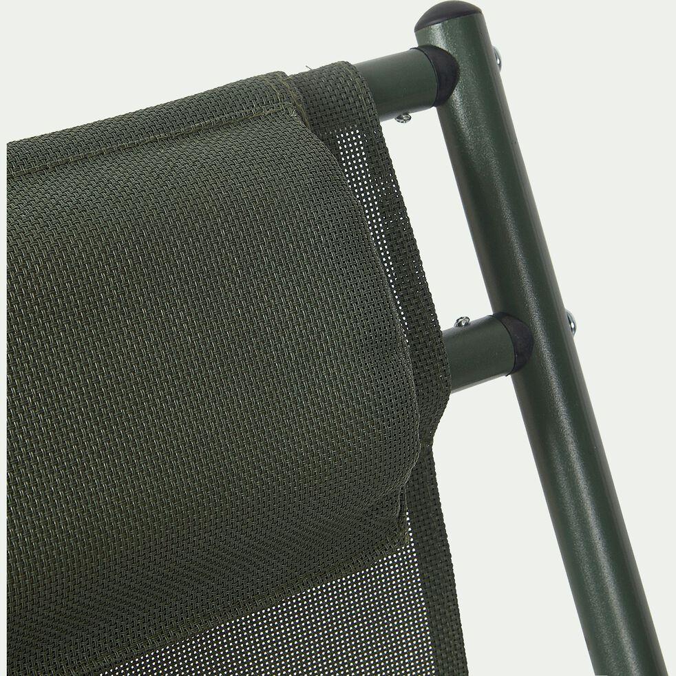 Chilienne en acier et toile enduite 3 positions vert cèdre-SALERNA