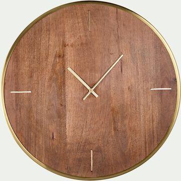 Horloge murale en bois de manguier - naturel D61cm-TAIS
