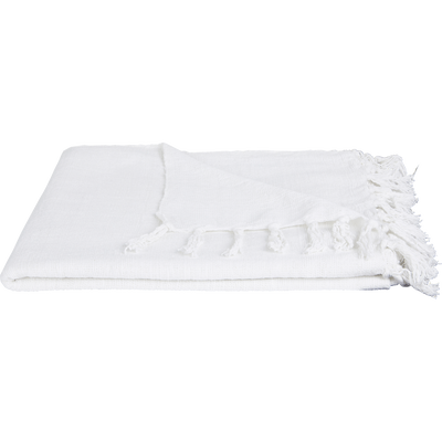 Plaid à franges en coton blanc capelan 130x170cm-CALANQUES