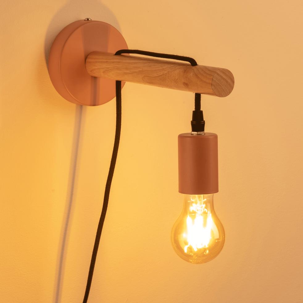 Applique en bois et métal rose grège-BASTIA