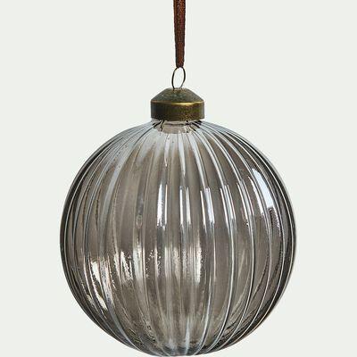 Boule de Noël en verre gris D10cm-BOLIVAR