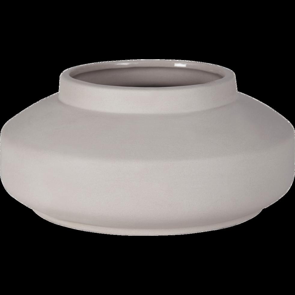 Vase rond en céramique gris h9.5cm-SOUFLE