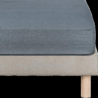 Drap housse en coton chambray Gris anthracite - 160x200 cm-FRIOUL