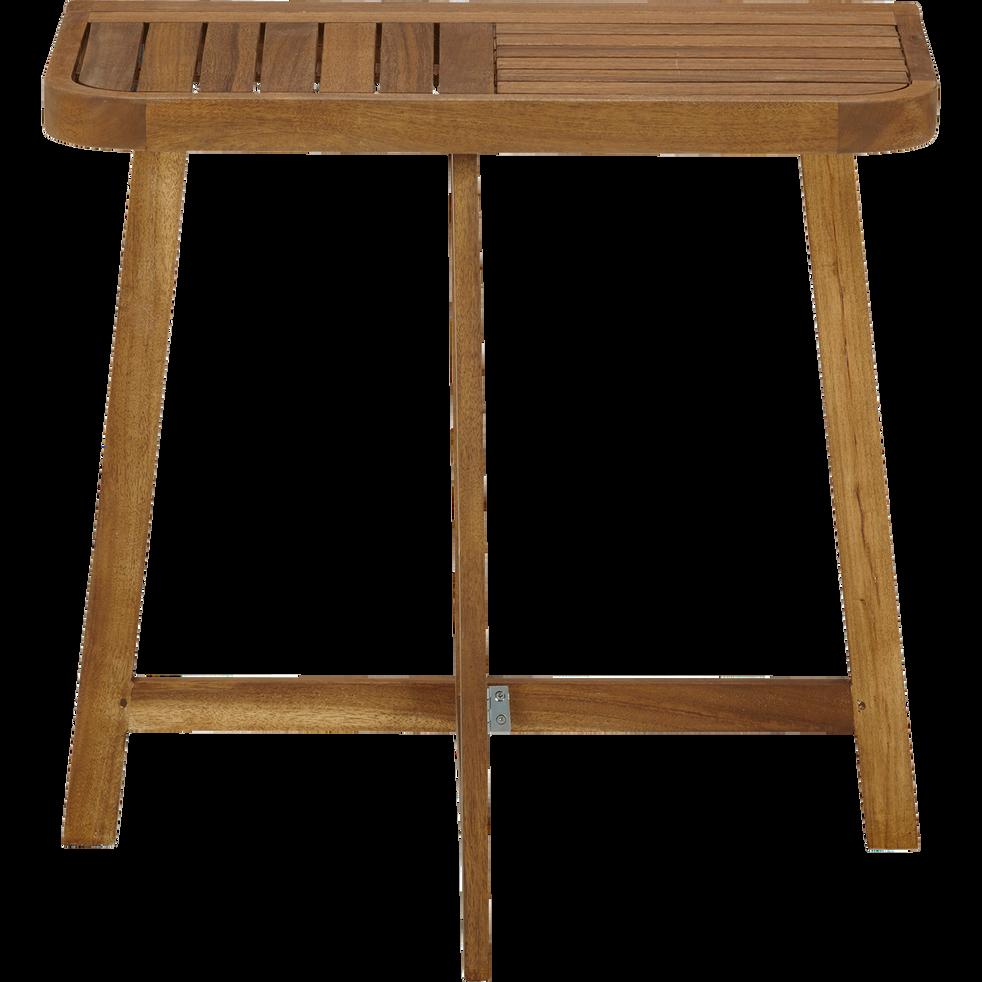 Youk - Demi table haute d\'appoint pliante en acacia huilé (2 places)