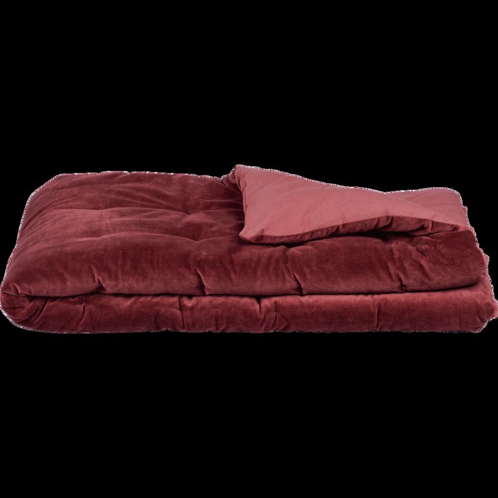 Édredon en velours rouge sumac 100x180cm-EDEN