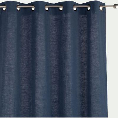 Rideau à œillets en ramie et coton - bleu figuerolles 130x250cm-RAMY