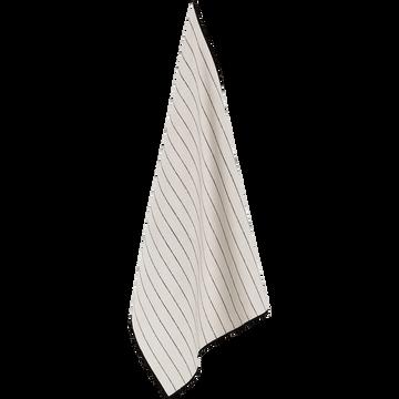 Torchon en coton blanc et noir-BADIANE