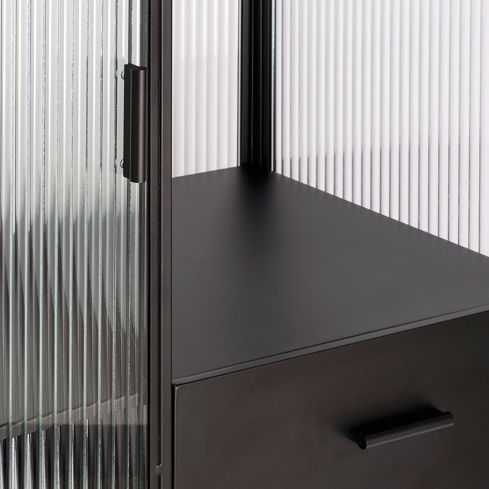 Vitrine en métal noir et en verre cannelé H148cm-VAREI