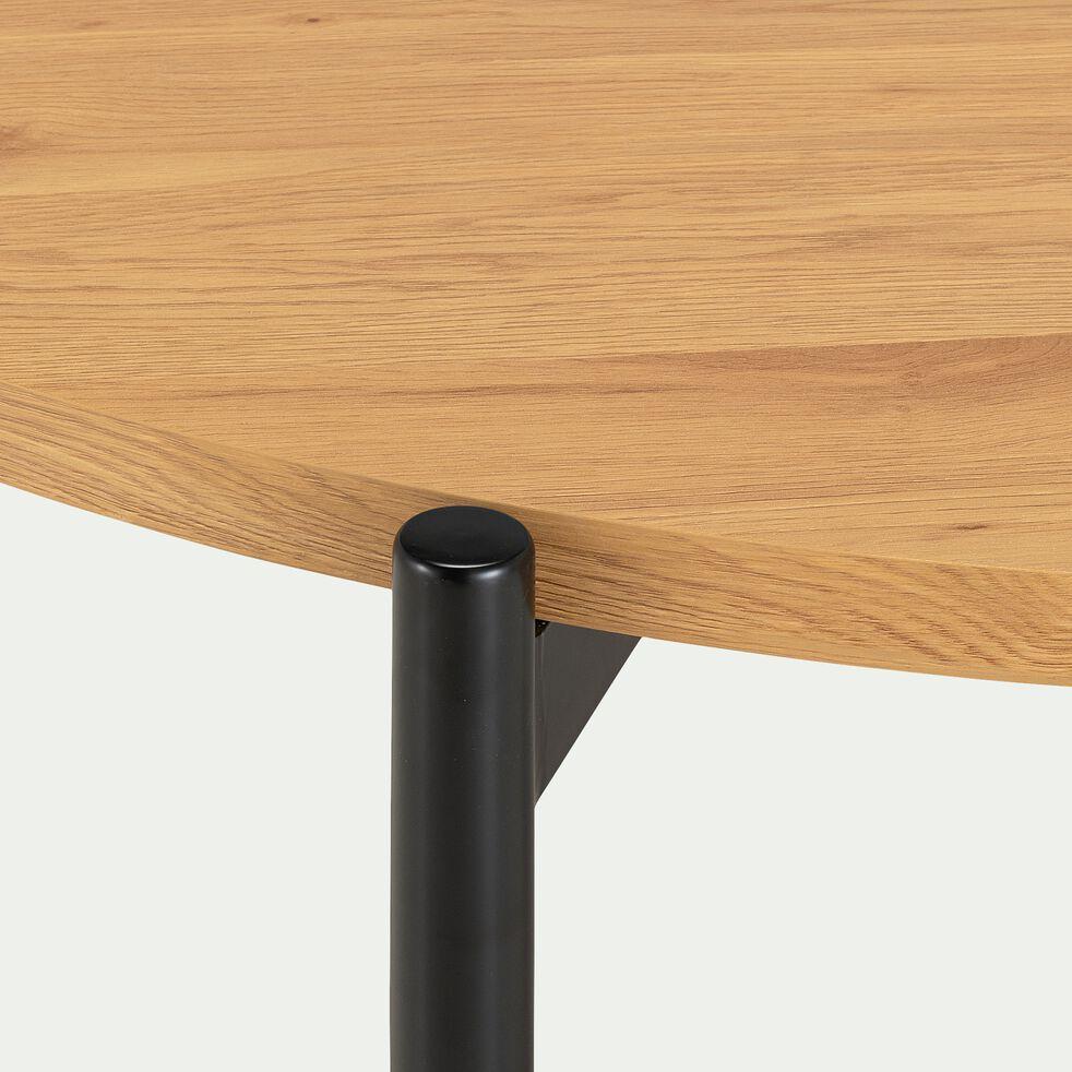 Table de repas ronde effet chêne et acier - 4 places-ISEO
