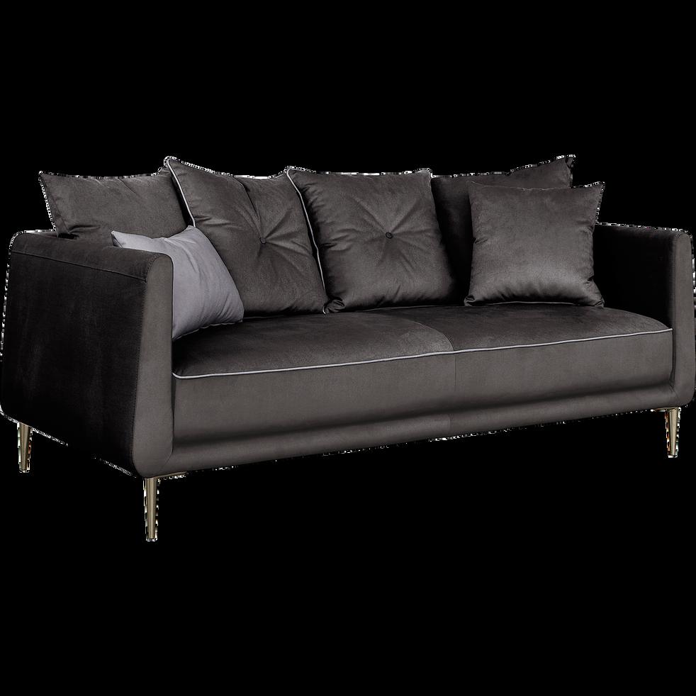 canap 3 places fixe en tissu noir calabrun astello canap s droits en tissu alinea. Black Bedroom Furniture Sets. Home Design Ideas