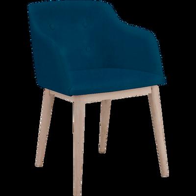 Chaise capitonnée avec accoudoirs bleu foncé-CORK