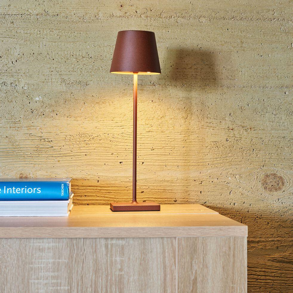 Lampe de table sans fil LED blanc chaud - brun rustrel H38xD10cm-KELLY