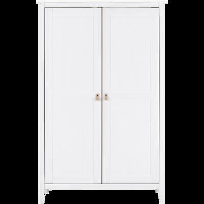 Armoire 2 portes avec structure et façade en pin massif blanc-LISON