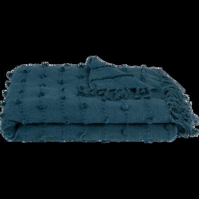Plaid en coton bleu 130x170cm-HILOL
