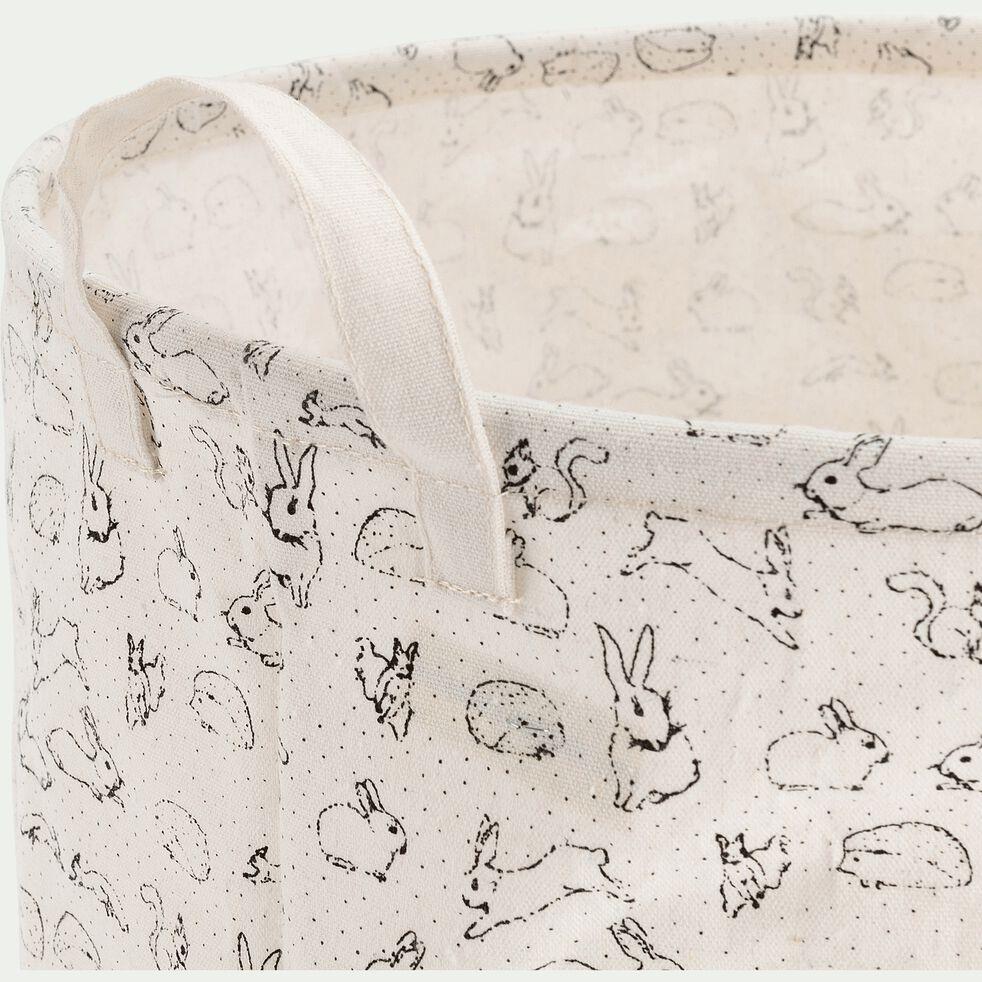 Lot de 2 paniers de rangement avec motif - blanc nougat D40xH40cm-Lony