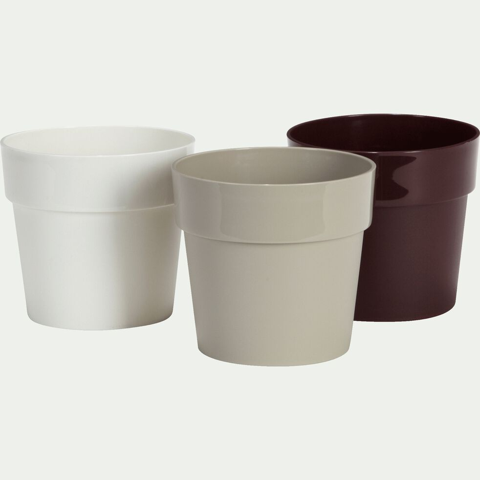 Cache-pot blanc en plastique H14,5xD16cm-B FOR